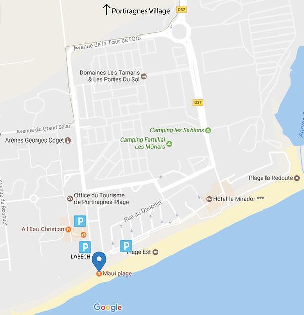 Accès, Portiragnes-Plage, Maui-Plage, parking gratuit,