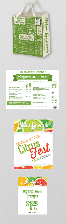 Reusable bag and sales signs for health food store