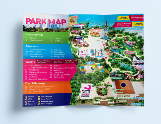 Park brochure design for Jungle Island made in collaboration with Jessie Angles