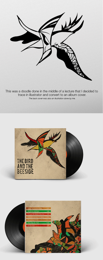 Album cover & back designed illustrated and then colored in photoshop