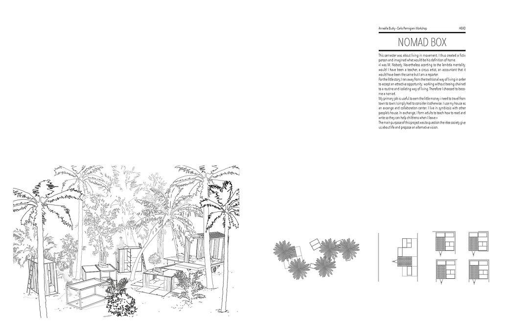 nomad box vivre en mouvemen mobile home modélisation 3D rendu vectorisation illustrator collage umlaut architecture dintérieur capbreton annaelle budry