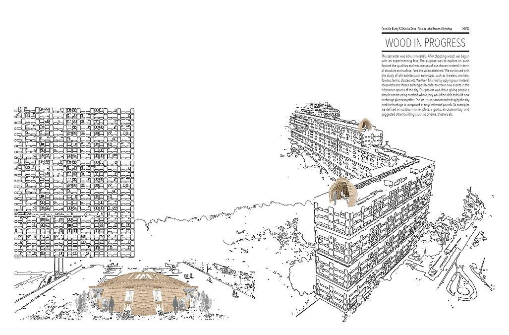 wood in progress expérimentation matière bois vectorisation illustrator rendus maquette collage reemploi umlaut architecture d'intérieur annaelle budry