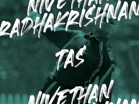 Nivethan Radhakrishnan signs his first contract with Cricket Tasmania