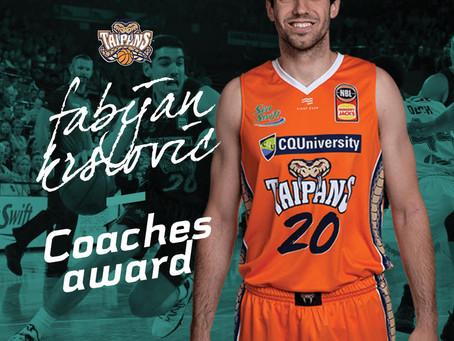 Fabijan Krslovic wins Cairns Taipans Coaches Award