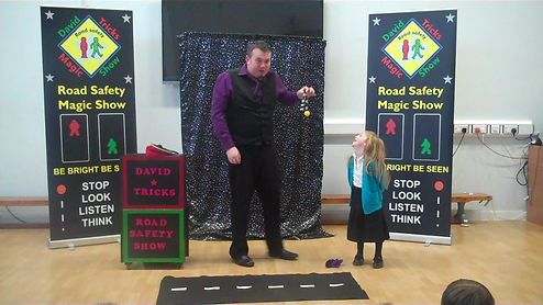 ROAD SAFETY SHOW LONDON, road safety show , road safety magic, david tricks road safety, london transport,