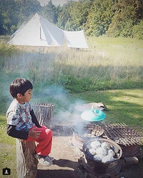 Camp fire cookery at Amber's Bell Tents - Wiveton Hall - North Norfolk and Uk Glamping