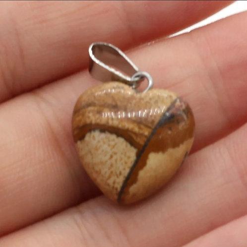 Picture stone heart pendant