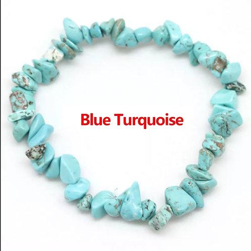 Blue Turquoise crystal chip bracelet