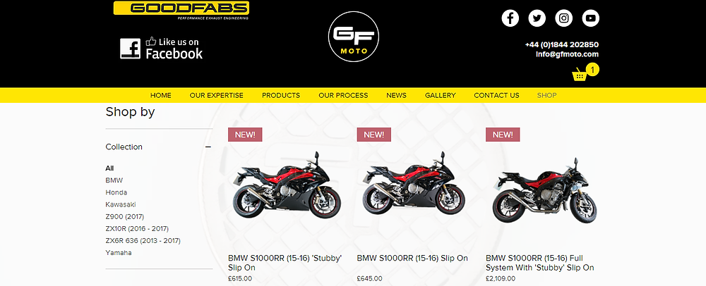Screenshot of GF Moto Online Shop