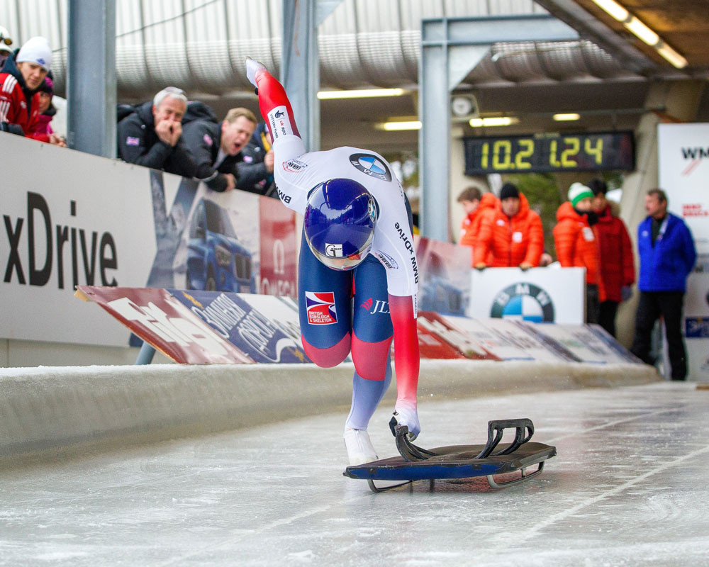 GB Skeleton athlete Laura Deas with the BBSA sled
