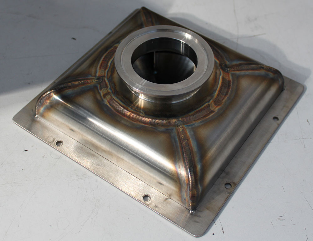 Machining, pressing and DMLS techniques were used to create a fully TIG welded inconel part