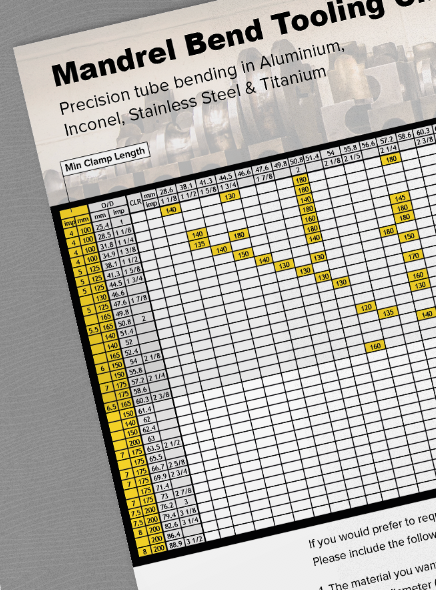 GoodFabs mandrel bend tooling chart for inconel, titanium, stainless steel and aluminium
