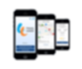 Picture shows three screens of the travel hands app