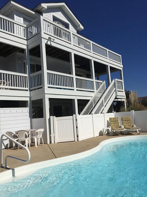 Enjoying the pool at the Dolphin Inn OBX