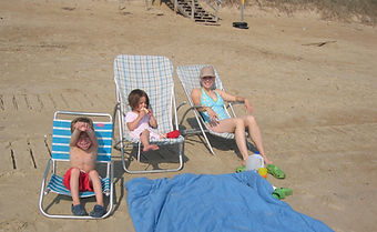 Enjoying a day at the beach in sunny Southern Shore in the Outer Banks