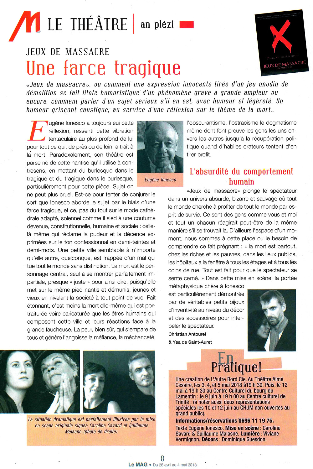 Jeux de massacre Ionesco Aimé Césaire