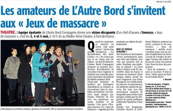 JEUX DE MASSACRE / FRANCE ANTILLES
