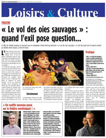 LE VOL DES OIES SAUVAGES DANS FRANCE ANTILLES MARTINIQUE