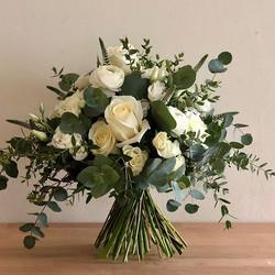 Bridal bouquet awaiting ribbons