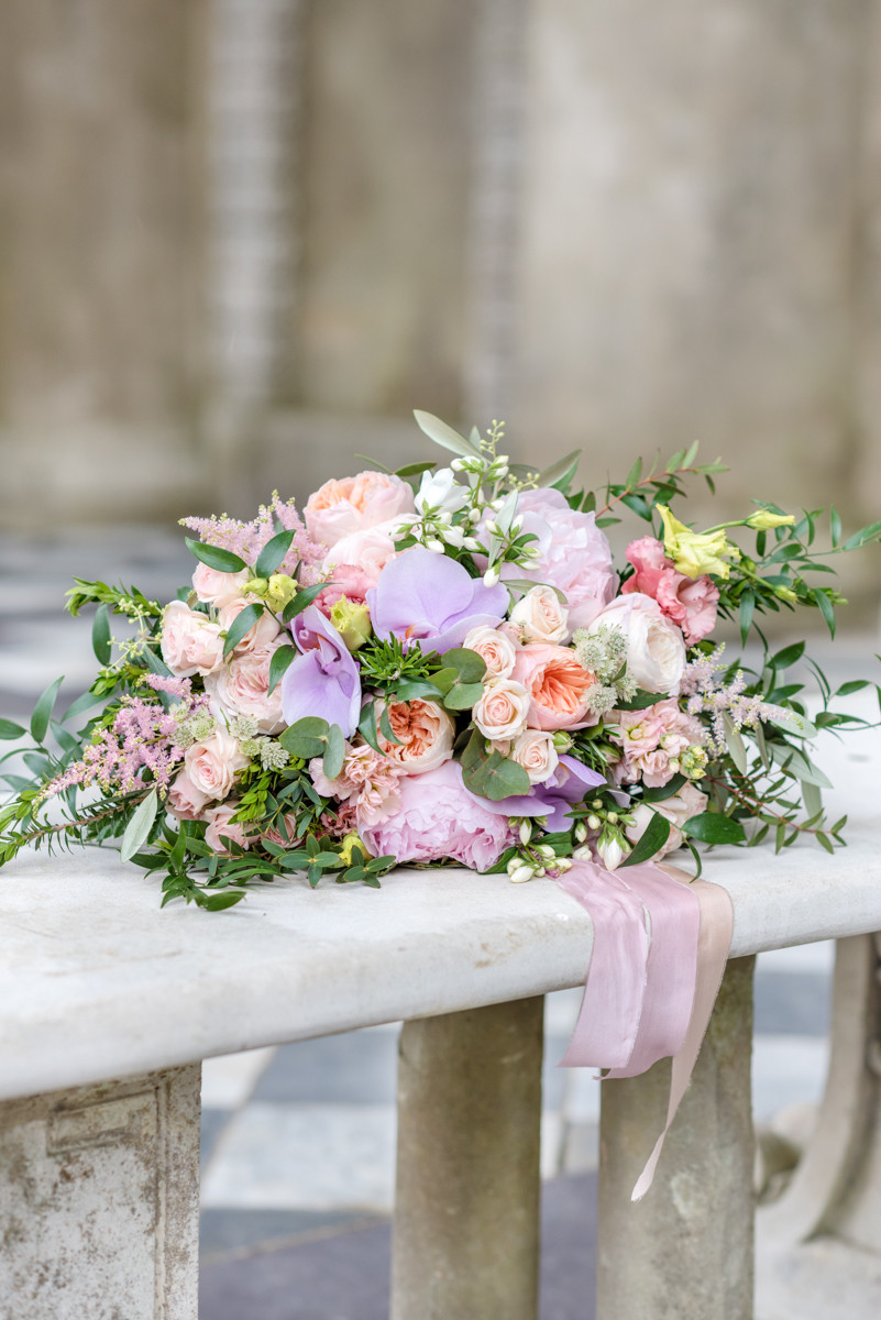 Phalaenopsis orchids, Roses, Stock, Olive Bridal bouquet