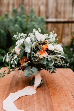 Bridal bouquet, white, caramel and peach tones