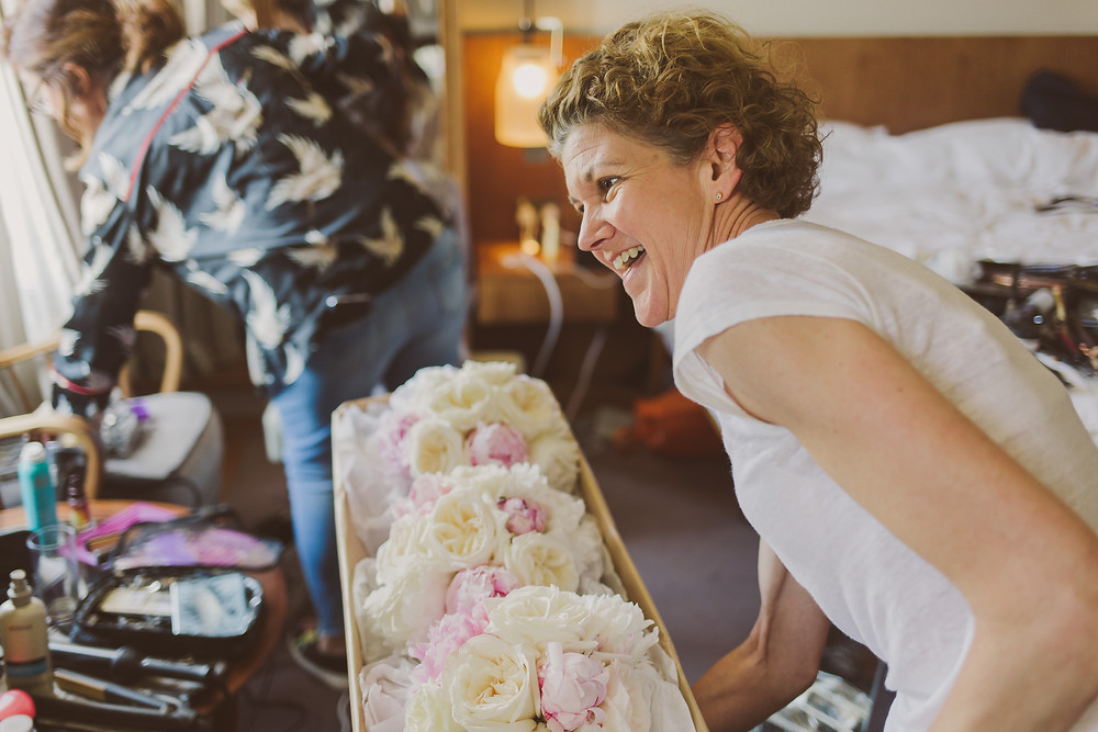Johanna personally delivering Wedding Bouquets to the Bingham in Richmond Upon Thames.  Photo by Nick Ray Photography