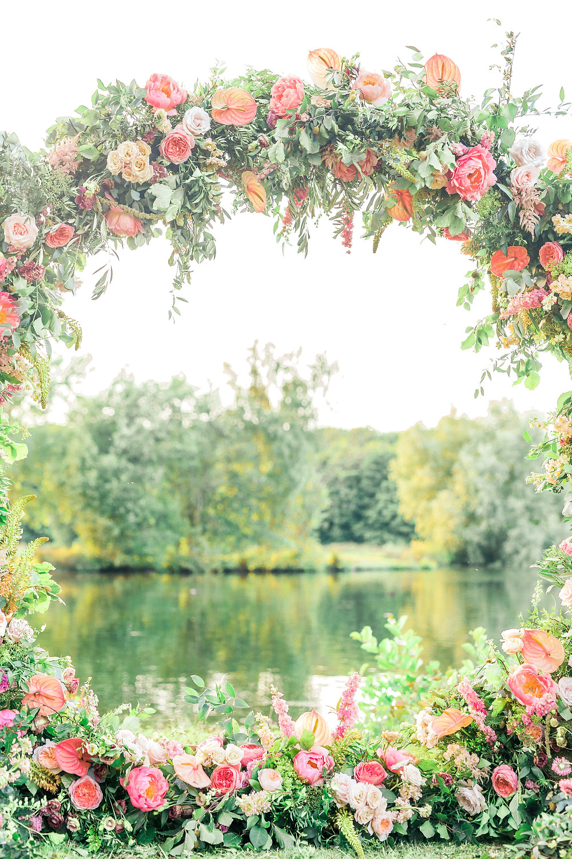 Lake view through Floral Moongate