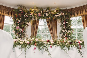 Top Table and flower arch, dusky pink an