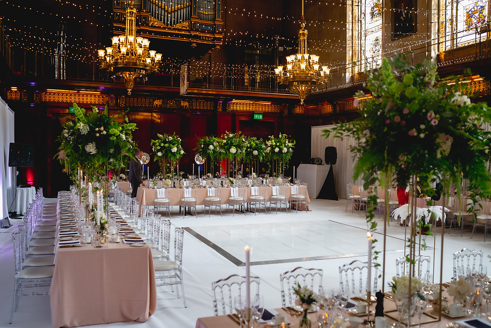 Wedding Table Flowers Taylors Merchant Hall