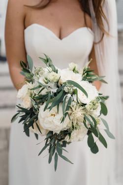 Classic, modern all white garden rose Bridal bouquet