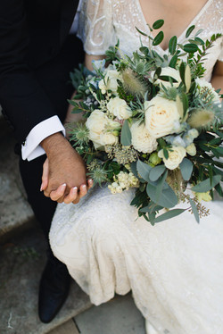 Bridal bouquet, white, with pops of blue and grey