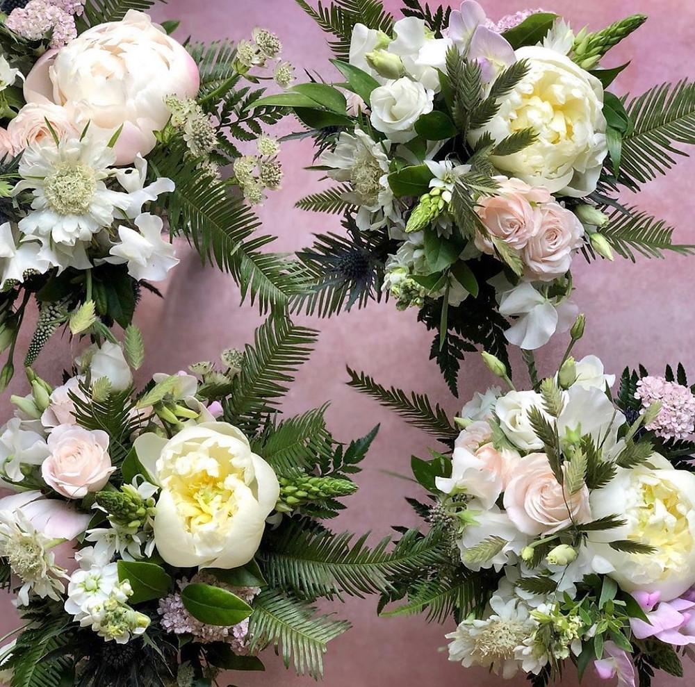 Bridesmaids handtied posy bouquets