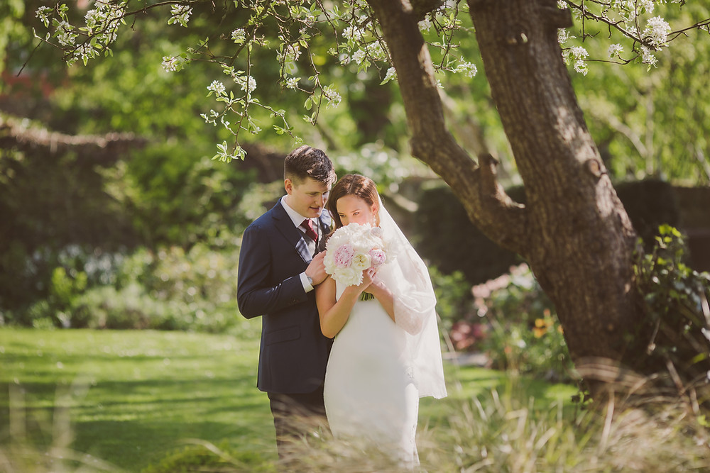 Bride and Groom at The Bingham Hotel Richmond Upon Thames