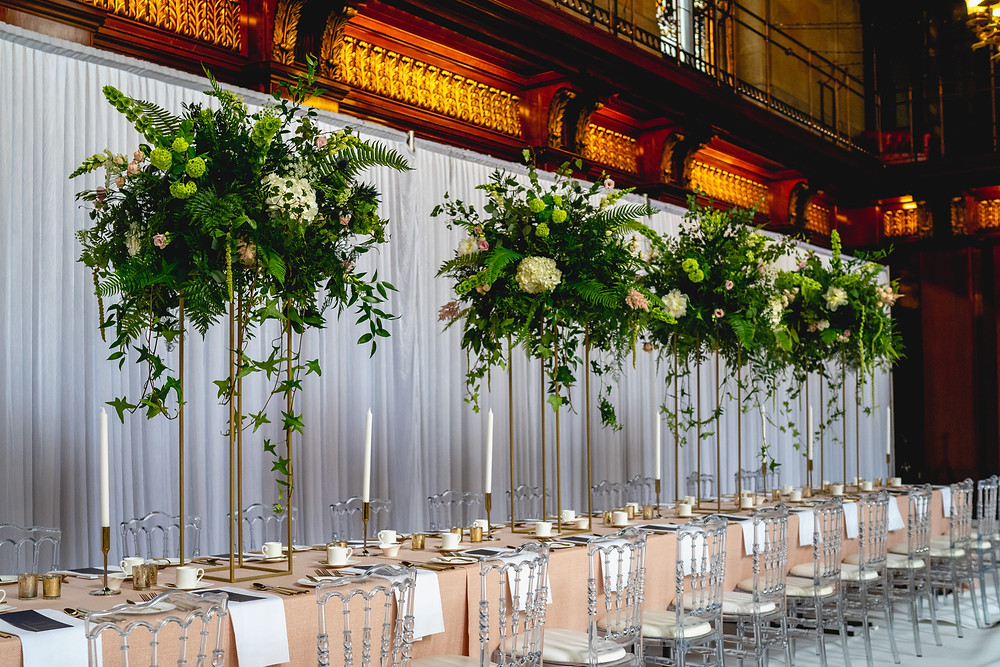 Stunning wedding table arrangements Merchant Taylors Hall