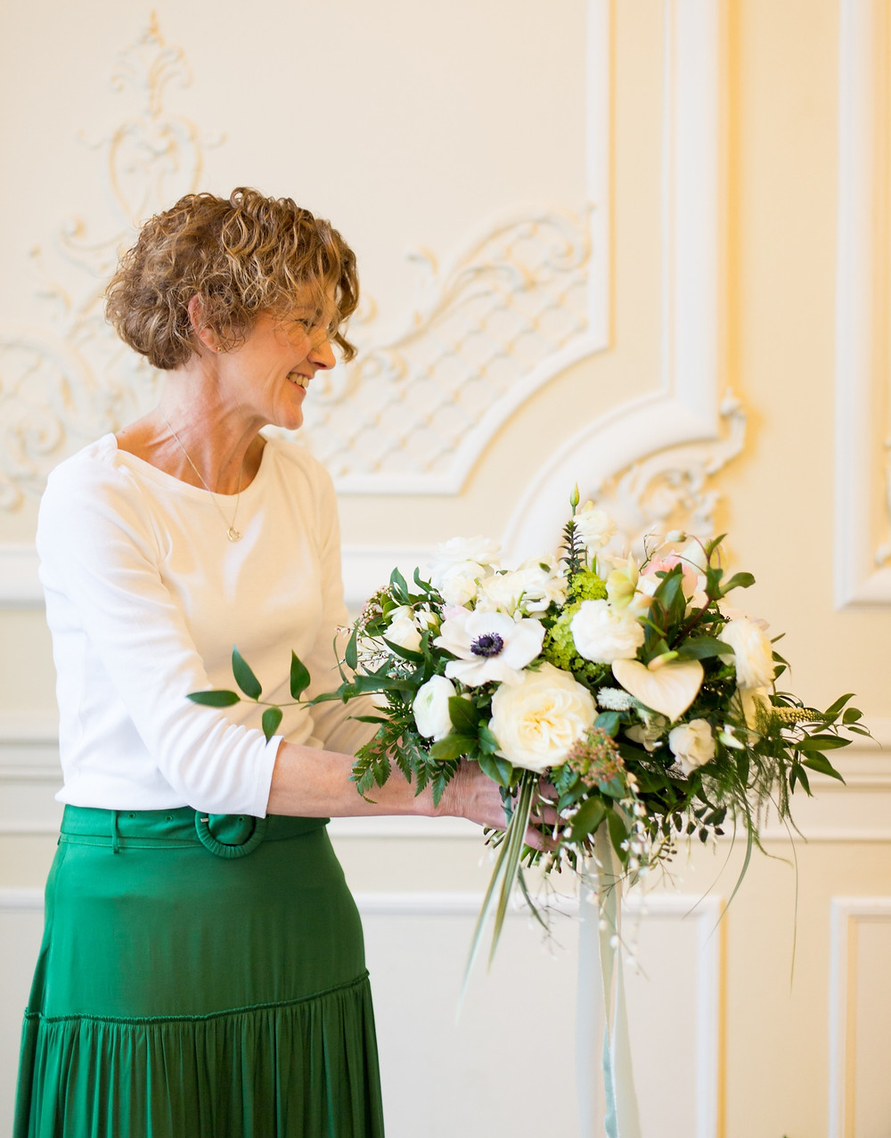 Anemones, Ranunculus, Hellebores white bridal bouquet