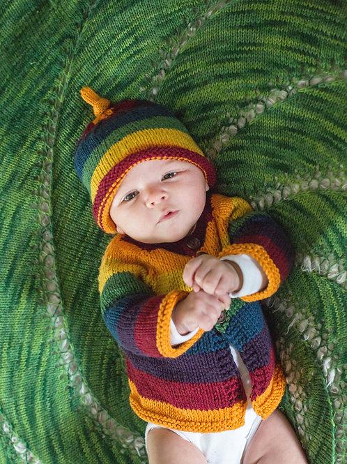 Rainbow Hat and Cardigan Set