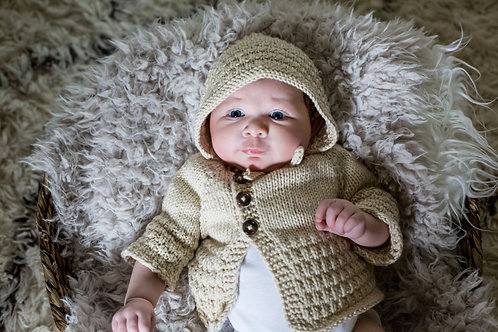 Lace Patterned Cardigan and Bonnet Set