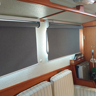 Port side windows with shades