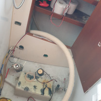 Starting mounting new toilet hoses from the holding tank