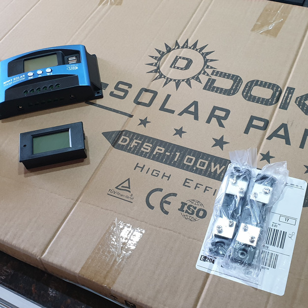 Solar panels, solar charge controllers and voltage monitors