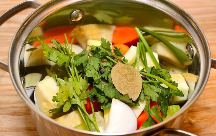 aromatics celery carrots onions for bone broth
