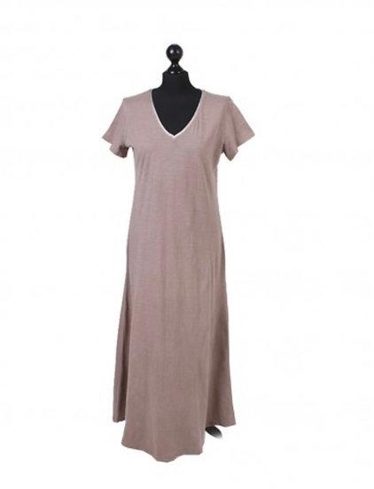 Italian Glittery V-Neck Plain Cotton Lagenlook Dress