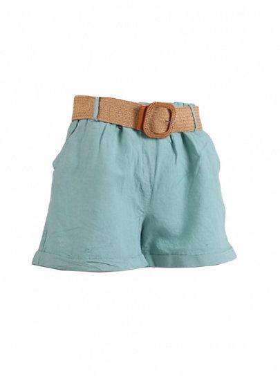 Made In Italy Plain Buckle Belt Linen Hot Shorts in ocean blue