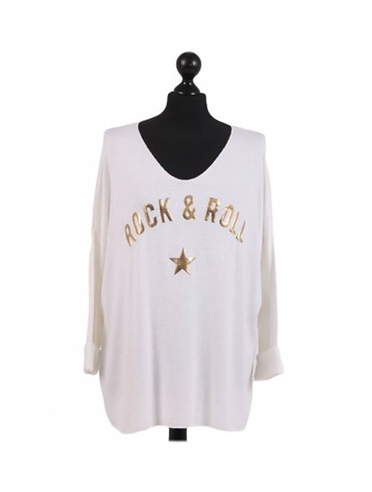 "Italian Glitter ""Rock & Roll"" Print & Star Lagenlook Top"