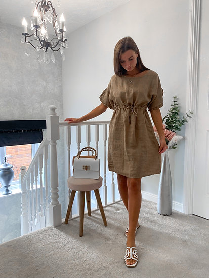 Taupe linen dress with drawstring waist