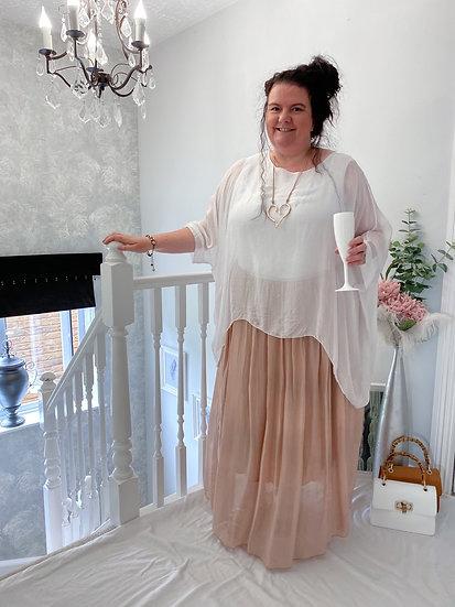 Stunning silk mix gypsy skirt with silver detail waist