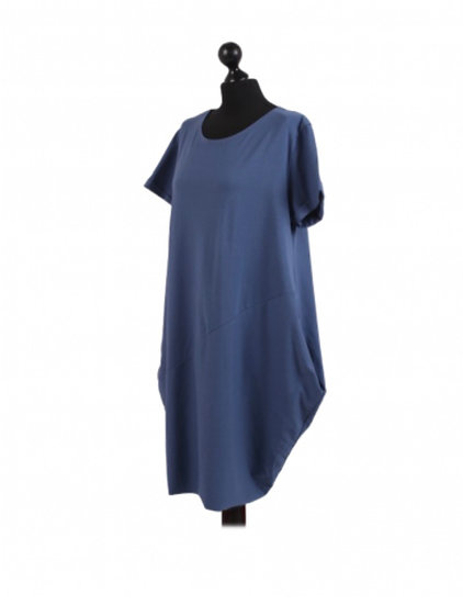 Made In Italy Plain Cotton Classy Lagenlook Cocoon Dress