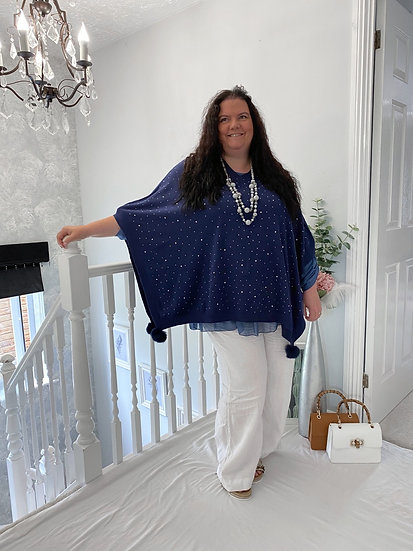 Super soft, summer sparkly, pom pom poncho