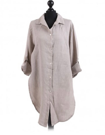 Italian stone Plain Front and Back Buttons Linen Tunic Top