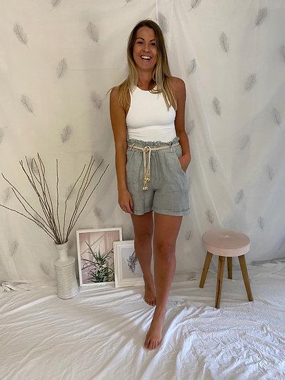 Linen high waisted paperbag shorts